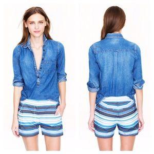 J. Crew Blue White Herringbone Striped Shorts, 2